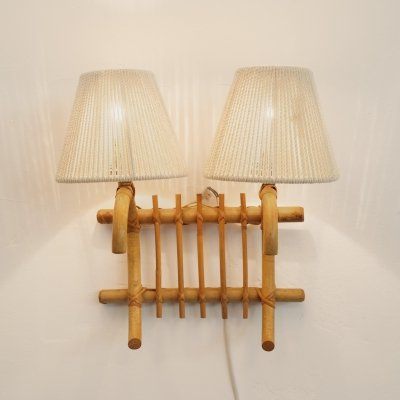 French rattan wall lamp, 1960-1970