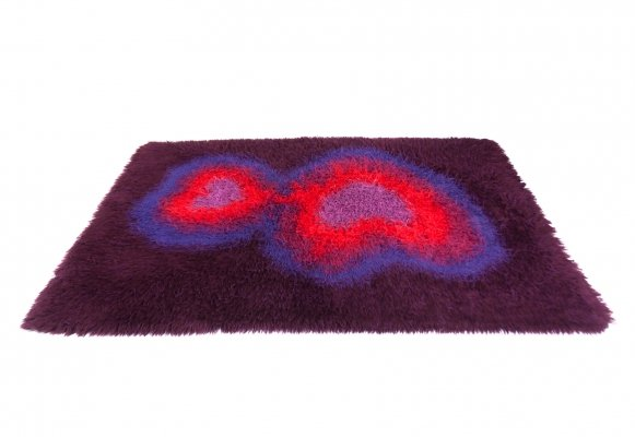 Vintage Danish High Pile Wool Psychedelic Pop Art Rug by Ege Taepper, 1970s