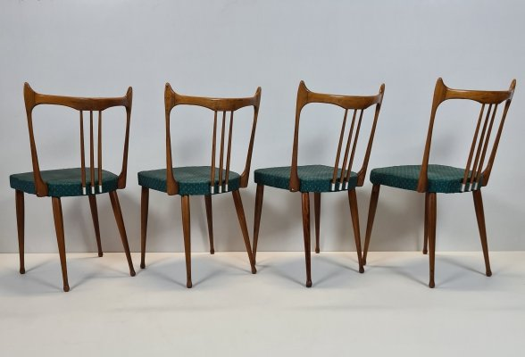 Set of 4 Mid-century Dutch wooden dining chairs by Stevens Nederland, 1950s