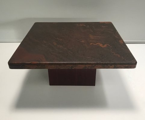 Brutalist stone & brass mosaic coffee table, Germany 1970s