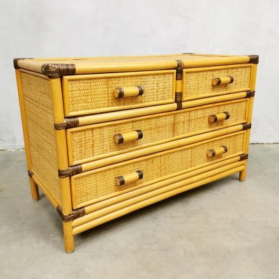Vintage small bamboo chest of drawers, 1980s