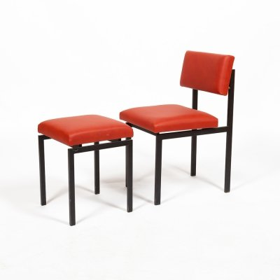 Set of chair & stool by Dieter Waeckerlin, 1950s
