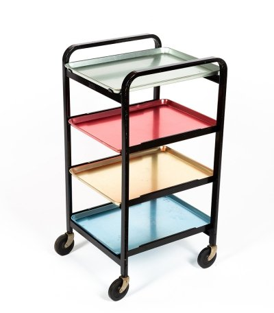 Aluminum tray trolley by W. Kienzle, Swiss design 1950s