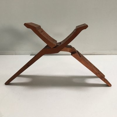 Foldable carved teak modernist stool, South America 1970s