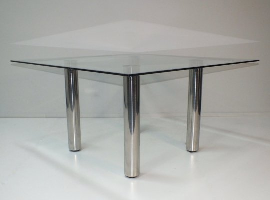 Brentano square glass dining table by Emaf Progetti for Zanotta, Italy 1980s