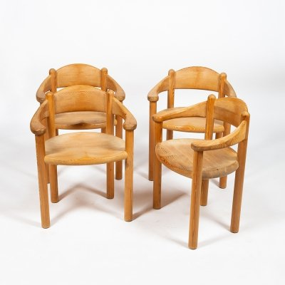 Set of 4 chairs in pine by Rainer Daumiller, 1960s