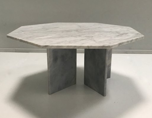 White marble modernist hexagon coffee table, Germany 1980s