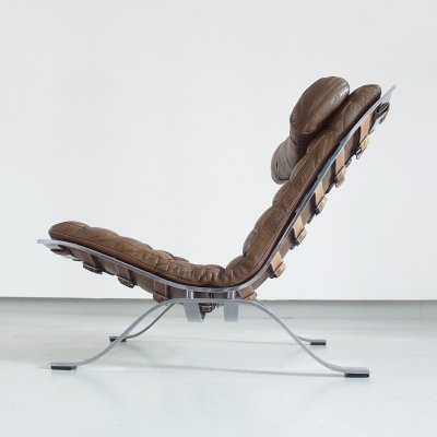 Arne Norell 'Ari' Lounge Chair in Bronze/Brown Original Leather, Sweden 1966