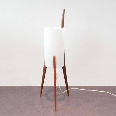 Rare oak & Plexiglass tripod floor lamp by Uno & Östen Kristiansson for Luxus, 1950s