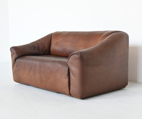 De Sede DS47 two-seat sofa in brown buffalo leather, Switzerland 1970