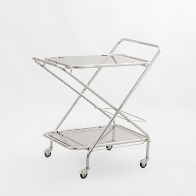Bauhaus tubular chrome steel & glass pliable trolley, 1960's