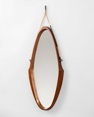 Italian Mirror In Teak And Rope, 1970's