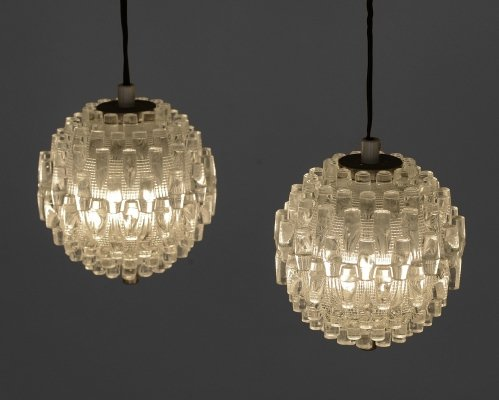 Pair of glass pendant lights by Carl Fagerlund for Orrefors, Sweden 1960s