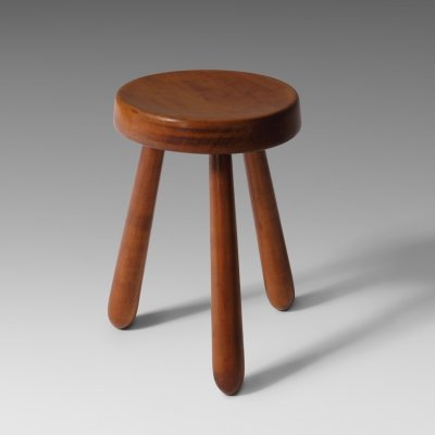 French Midcentury modern stool in solid Elm