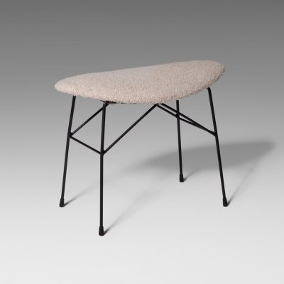Italian Stool by Pizzetti with Bouclé seating, 1960s
