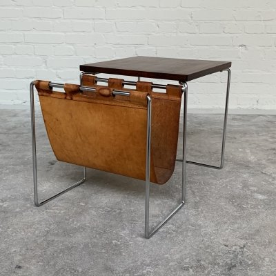 Brabantia side table with leather magazine holder, Netherlands 1960s
