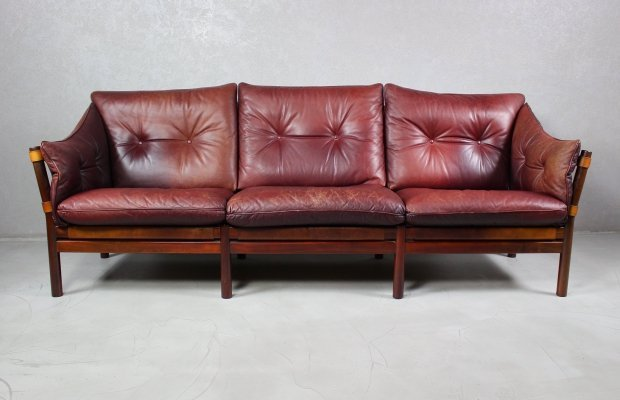 Leather Sofa Ilona by Arne Norell for Aneby Møbler, 1960s