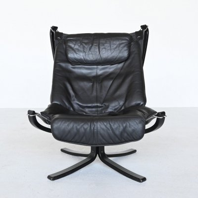 Sigurd Ressell Falcon black lounge chair by Vatne Mobler, Norway 1970