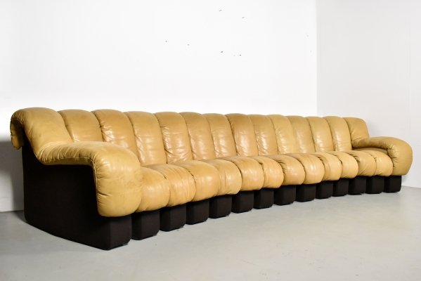 De Sede DS 600 non stop sectional sofa in tan leather, 1980s
