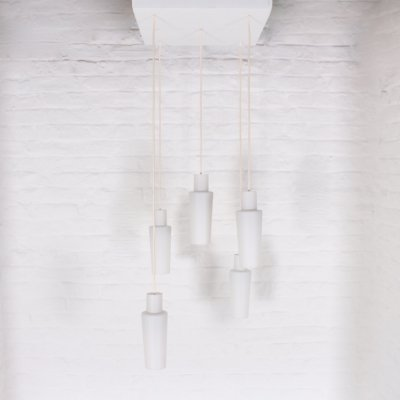 Scandinavian Raak pendant light in opal glass, 1960's