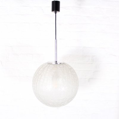 Frosted blown glass pendant light by Doria, 1970's