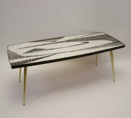 Mosaic Coffee Table with brass legs by Berthold Müller, 1960s