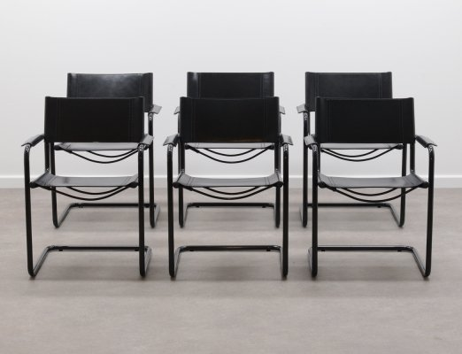 Set of 6 Black MG5 chairs by Marcel Breuer for Matteo Grassi, 1990s
