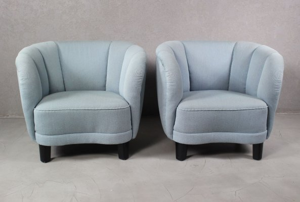 Pair of Curved Lounge or Club Chairs, 1940s