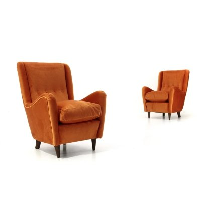 Pair of armchairs covered in rust velvet, 1950s