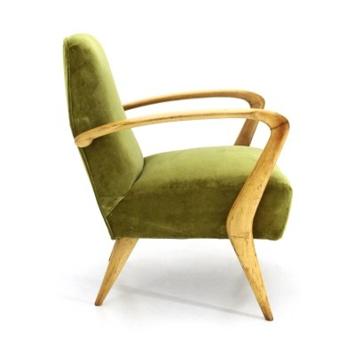 Green velvet armchair with wooden armrests, 1950s