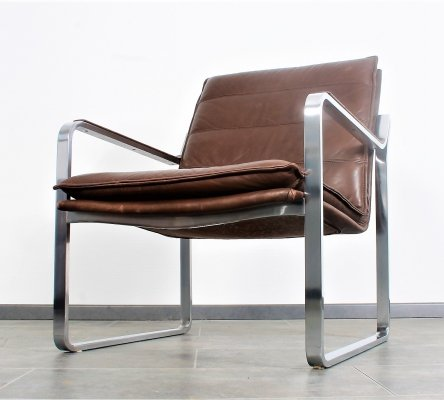 Stainless steel & leather lounge chair by Knoll Rudolf Glatzel, 1970s