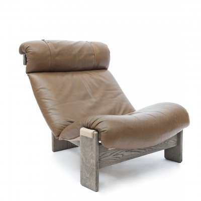 Tripod lounge chair in oak, leather & canvas, 1970s