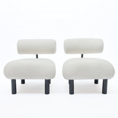 Space Age low chairs in bouclé fabric, 1980s