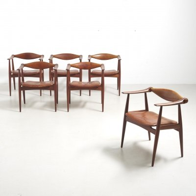 Set of 6 Armchairs Model CH-34 in Teak by Hans J. Wegner for Carl Hansen & Søn