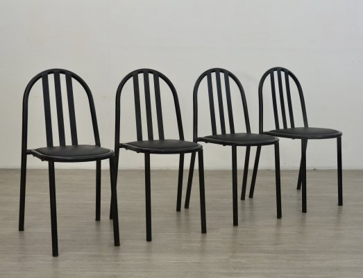 Set of 4 black dining chairs by Robert Mallet Stevens, 1970s