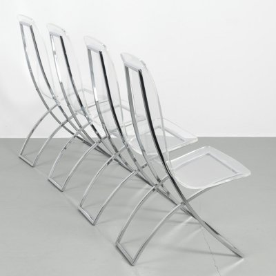 Set of 4 very low CH4 plexi glass chairs by Edmond Vernassa