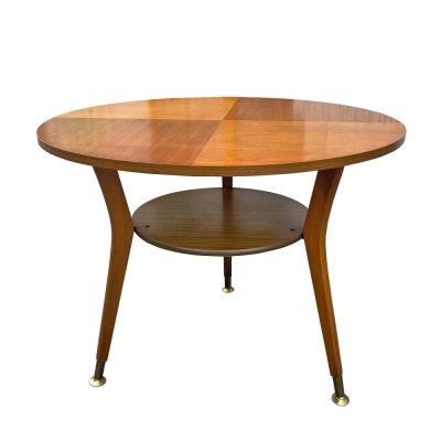 Round Brown Coffee Table with Shelf, Germany 1960s