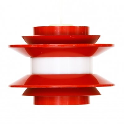Pendant light 'Trava' in red lacquer by Carl Thore for Granhaga Metallindustri