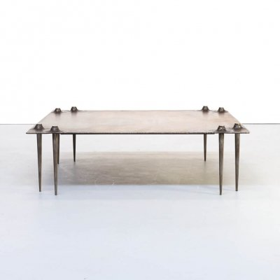 90s Indir Mecibah solid metal artwork coffee table for Smederij Moerman