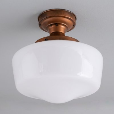1950s opaline glass & copper hallway ceiling lights