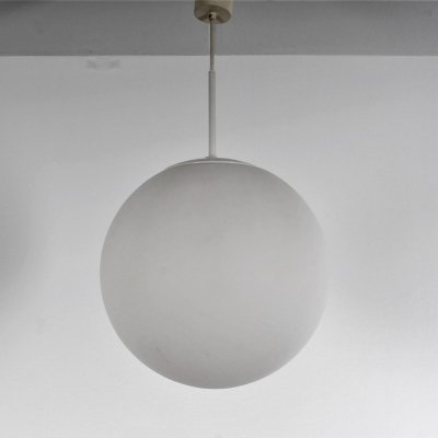 White bowl lamp from Glashütte Limburg with white finished metal parts
