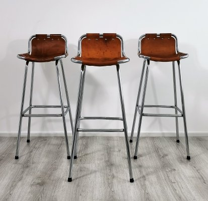 Set of 3 'Les Arcs' Bar Stools selected by Charlotte Perriand, 1960s