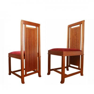 Frank Lloyd Wright Coonley 2 Chair in solid natural cherrywood made by Cassina, 1992
