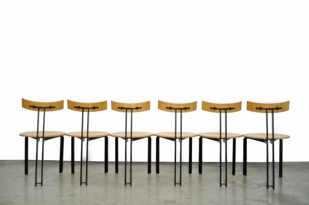 Post modern vintage 'Zeta' dining chairs by Martin Haksteen for Harvink, 1980s