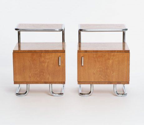Pair of Art Deco Chrome & Tubular Steel Night Stands from Kovona, 1930s