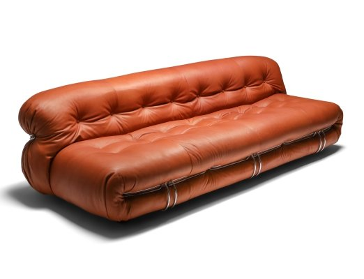 Cassina 'Soriana' Cognac Leather Sofa by Afra & Tobia Scarpa, 1970s