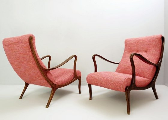Pair of Lounge Chairs by Ezio Longhi, 1950s