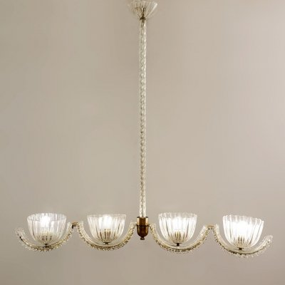 Ercole Barovier Murano 4 Arms Light, 1930s