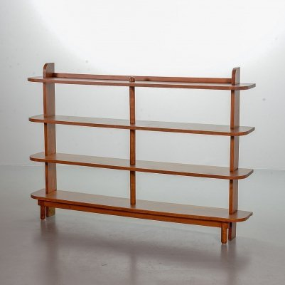 Amsterdam School Dutch Design 'Stokkenkast' Solid Oak Shelving Wall Unit