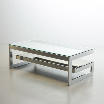 Belgo Chrom G-Table with Glass Table Tops on Chromed Steel Frame, Belgium 1970s